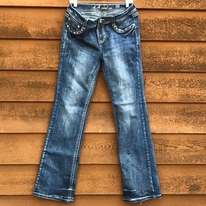 LA Idol Distressed Blue Cross Jeans